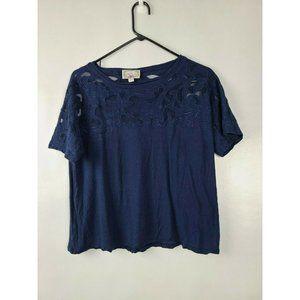 Baraschi Blue Floral Lace Yoke Short Sleeve Top